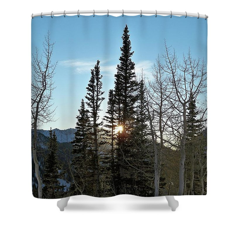 Rural Shower Curtain featuring the photograph Mountain Sunset by Michael Cuozzo