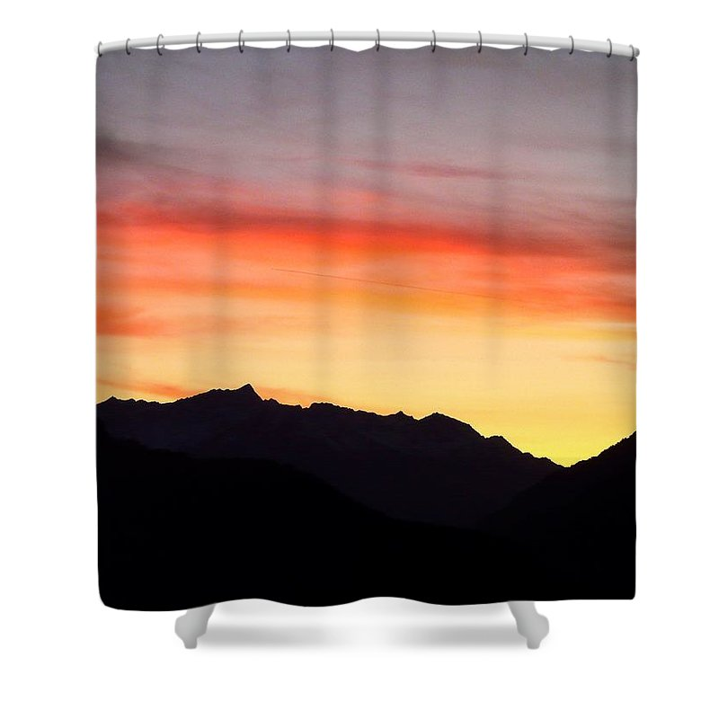Mountain Shower Curtain featuring the photograph Mountain Sunset by Valerie Ornstein