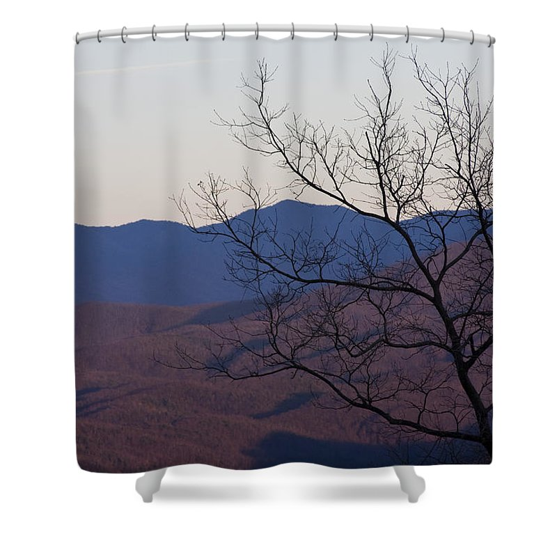 Tree Mountain Mountains Sun Sunset Sky Winter Smoky Park National Shower Curtain featuring the photograph Mountain Tree by Andrei Shliakhau