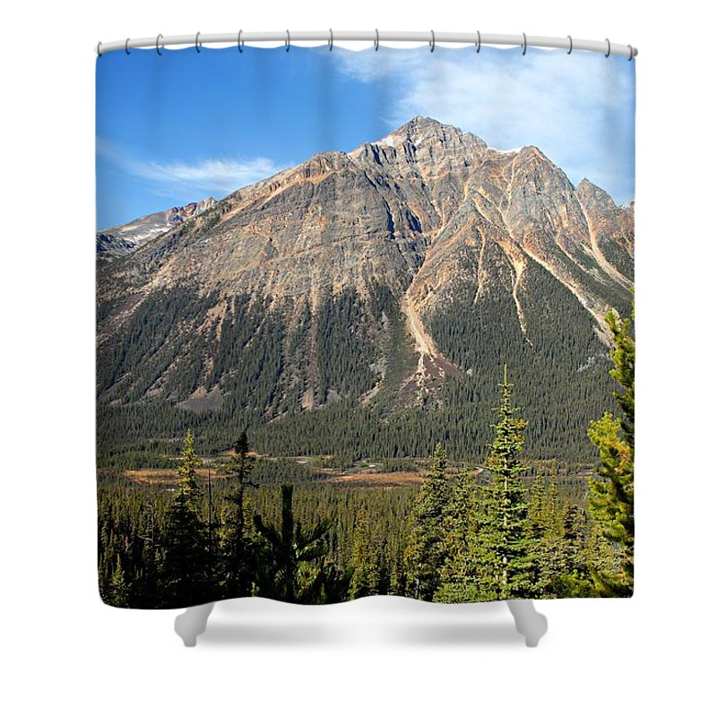 Jasper National Park Shower Curtain featuring the photograph Mountain View 1 by Larry Ricker