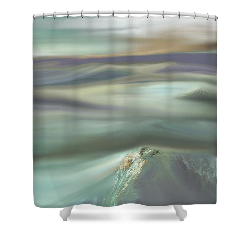 Fine Art Shower Curtain featuring the digital art Mountain View by David Lane