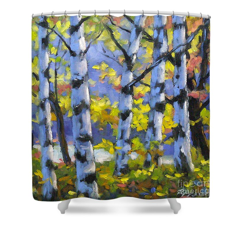 Art Shower Curtain featuring the painting Mountain View by Richard T Pranke