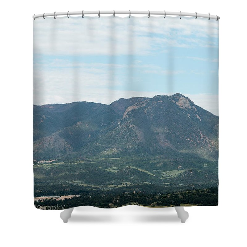 A Beautiful View Of The Mountains In Colorado Springs Colorado Shower Curtain featuring the photograph Mountain View by Tonja Whittier