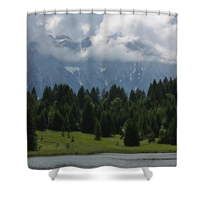 Mountain Shower Curtain featuring the digital art Mountain by Zia Low
