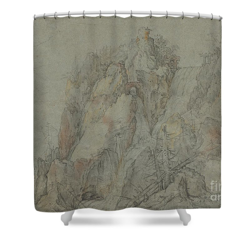 Shower Curtain featuring the drawing Mountainous Landscape With Castles And Waterfalls by Roelandt Savery