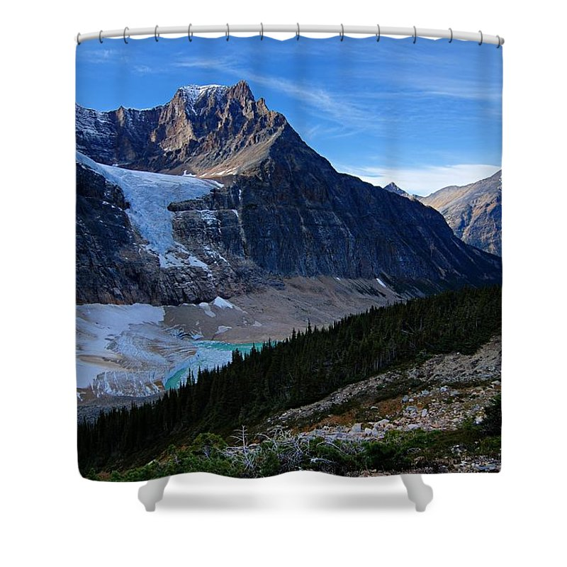 Mount Edith-cavell Shower Curtain featuring the photograph Mountains And Glaciers by Larry Ricker