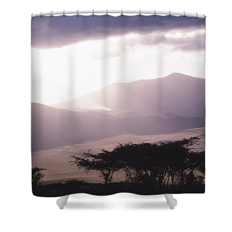 Africa Shower Curtain featuring the photograph Mountains And Smoke, Ngorongoro Crater by Skip Brown