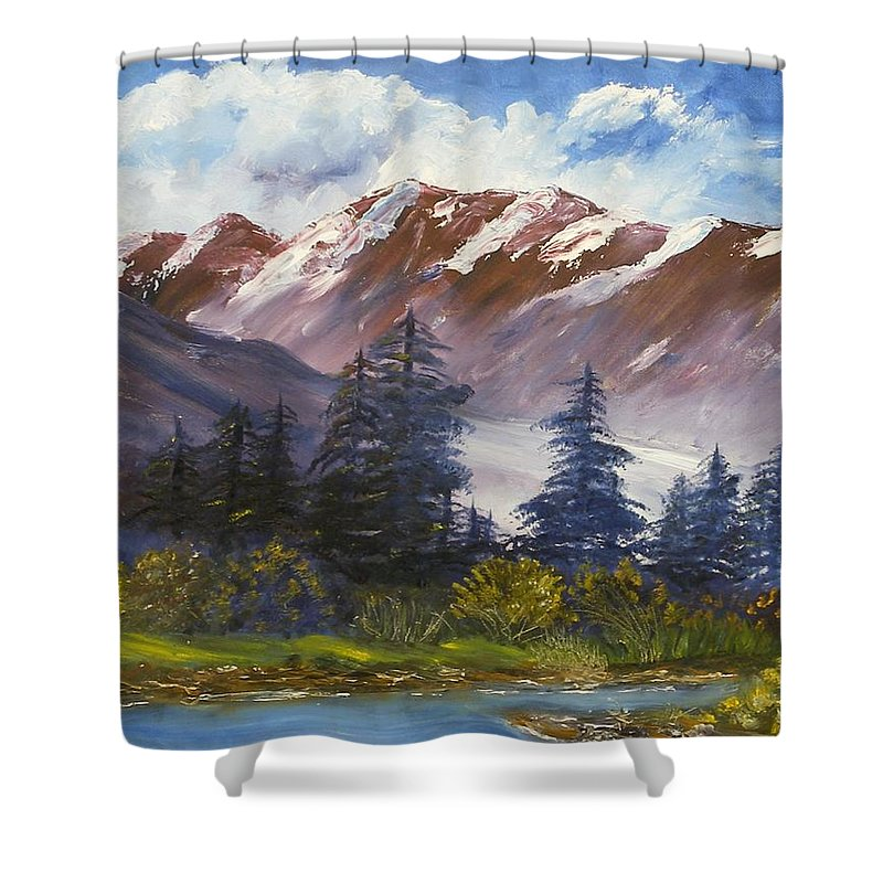 Oil Painting Shower Curtain featuring the painting Mountains I by Lessandra Grimley