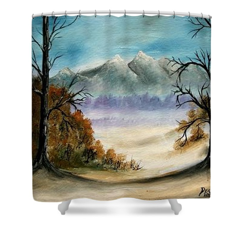 Mountains Shower Curtain featuring the painting Mountains Landscape Oil Painting by Derek Mccrea