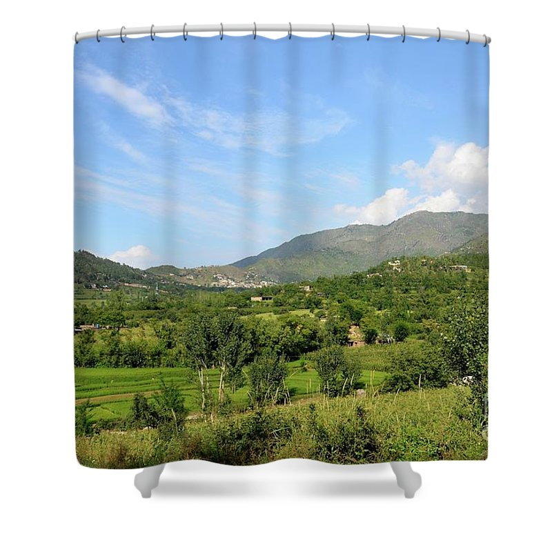 Swat Shower Curtain featuring the photograph Mountains Sky And Homes In Village Of Swat Valley Khyber Pakhtoonkhwa Pakistan by Imran Ahmed