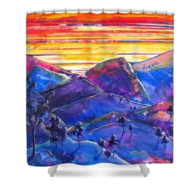 Mountains Shower Curtain featuring the painting Mountainscape Blue by Rollin Kocsis