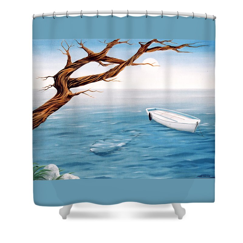 Seascape Prints Shower Curtain featuring the painting Mourning Spring by Mark Cawood
