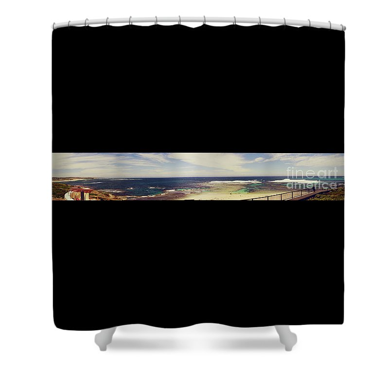 Panorama Shower Curtain featuring the photograph Mouth Of Margaret River Beach Panorama by Cassandra Buckley