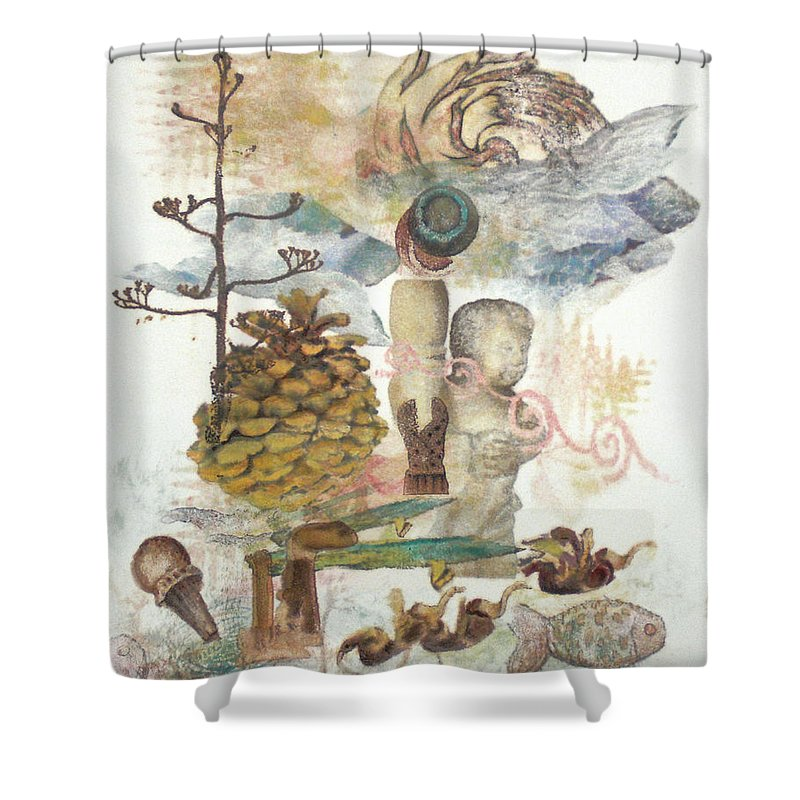 Abstract Shower Curtain featuring the painting Move Along by Valerie Meotti