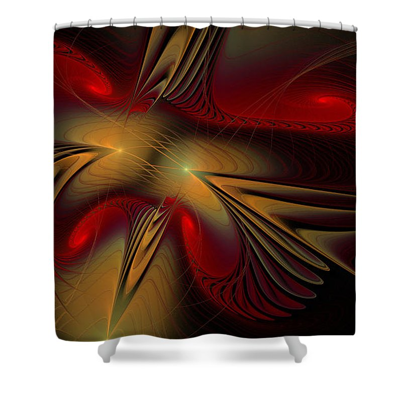 Digital Shower Curtain featuring the digital art Movement Of Red And Gold by Deborah Benoit