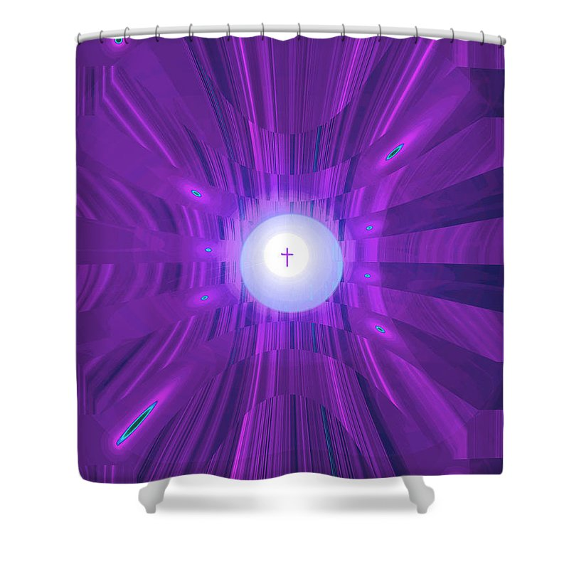 Moveonart! Digital Gallery Shower Curtain featuring the digital art Moveonart Abstract Cross In Purple by Jacob Kanduch