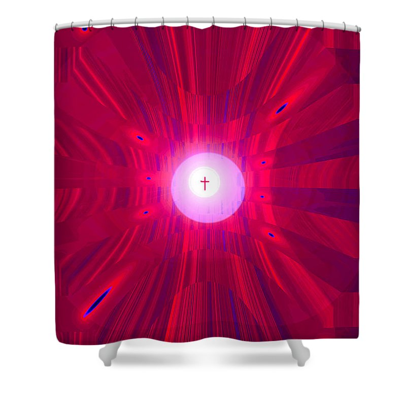 Moveonart! Digital Gallery Shower Curtain featuring the digital art Moveonart Abstract Cross In Red by Jacob Kanduch