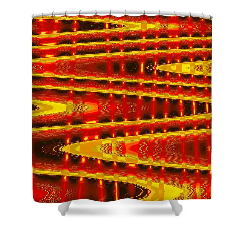 Moveonart! Digital Gallery Shower Curtain featuring the digital art Moveonart Abstract Waves And Light Five by Jacob Kanduch