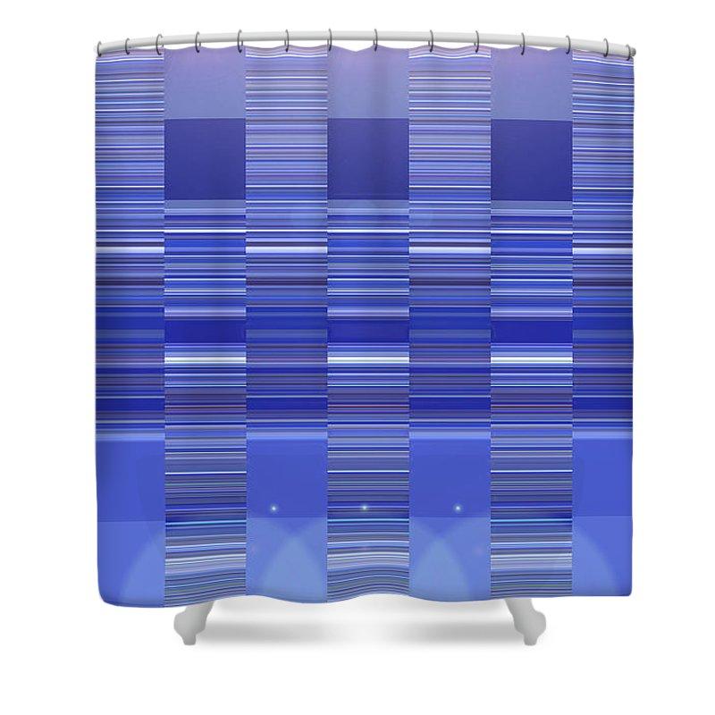 Moveonart! Digital Gallery Shower Curtain featuring the digital art Moveonart Blue Program One by Jacob Kanduch