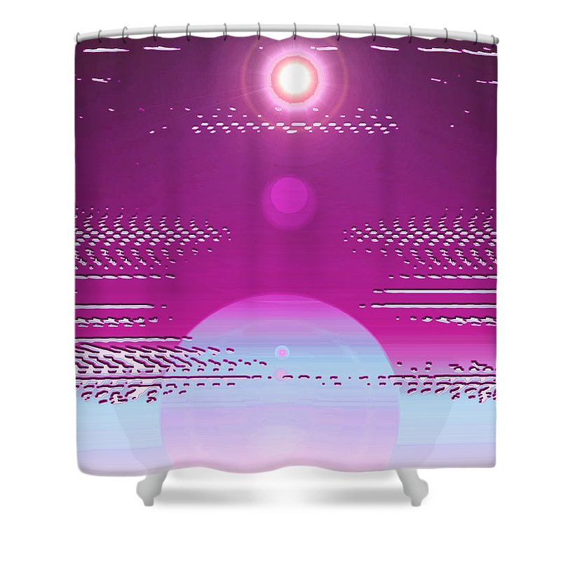 Moveonart! Digital Gallery Shower Curtain featuring the digital art Moveonart Calming Cosmic Centering One by Jacob Kanduch