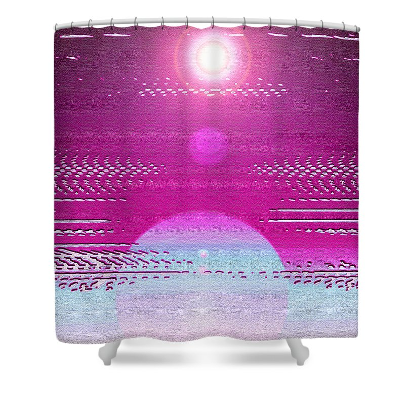 Moveonart! Digital Gallery Shower Curtain featuring the digital art Moveonart Cosmic Centering II by Jacob Kanduch