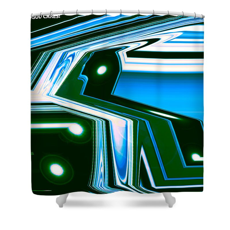 Moveonart! Digital Gallery Shower Curtain featuring the digital art Moveonart Let Go Let God One by Jacob Kanduch