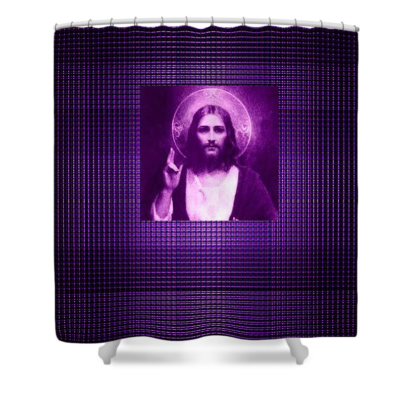 Moveonart! Violetnoirjesus Abstract By Artist Musician Jacob Kane Kanduch -- Omnetra Shower Curtain featuring the digital art Moveonart Violetnoirjesus by Jacob Kanduch
