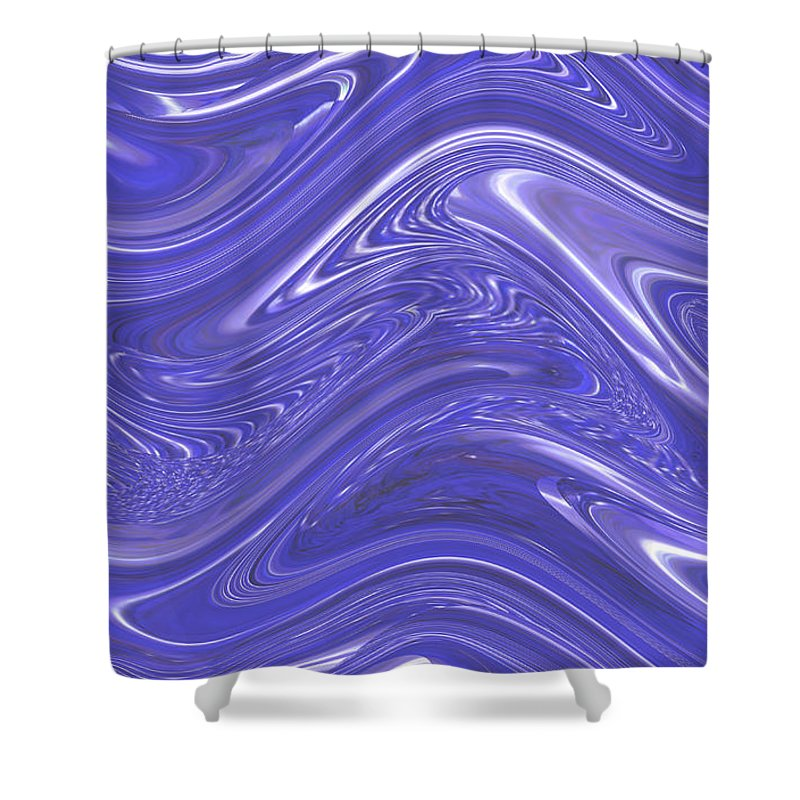 Moveonart! Digital Gallery Shower Curtain featuring the digital art MoveOnArt Waves Of Blue For You 1 by Jacob Kanduch