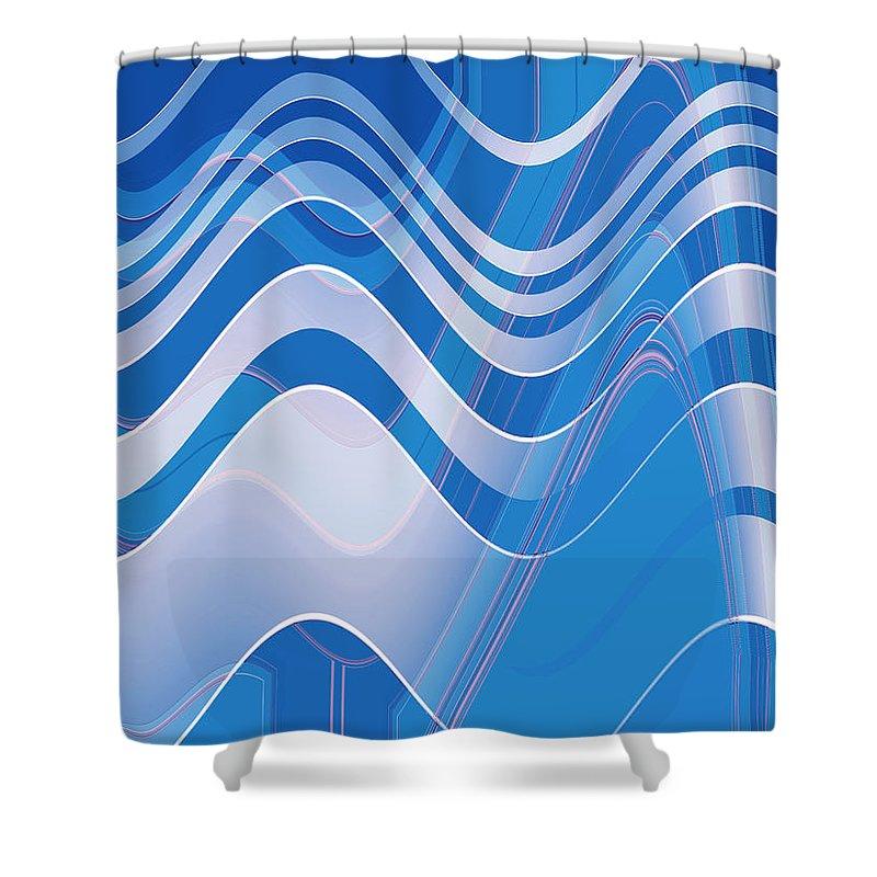Moveonart! New York / San Francisco / Oklahoma City / Portland / Missoula Jacob Kanduch Shower Curtain featuring the digital art Moveonart Waves Of Redemption 1 by Jacob Kanduch