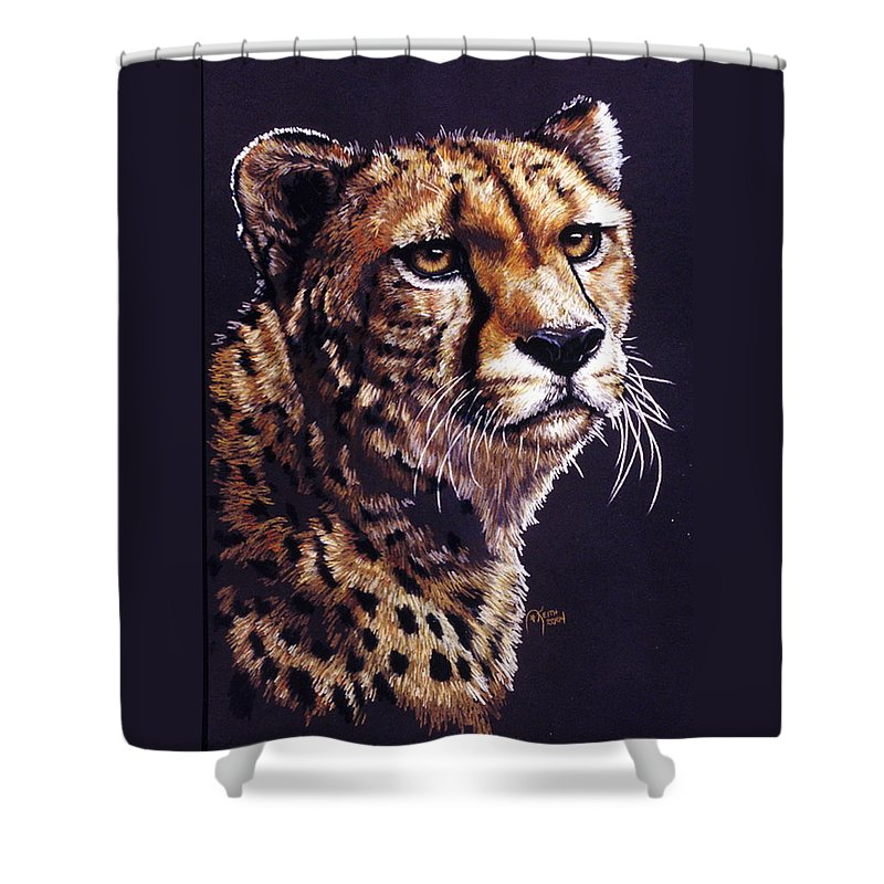Cheetah Shower Curtain featuring the drawing Movin On by Barbara Keith