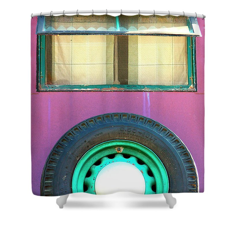 Airstream Shower Curtain featuring the photograph Movin On Palm Springs by William Dey