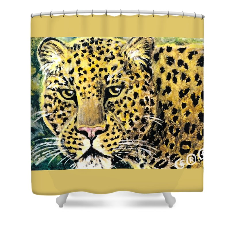 Leopards Shower Curtain featuring the pastel Moving Beauty by George I Perez