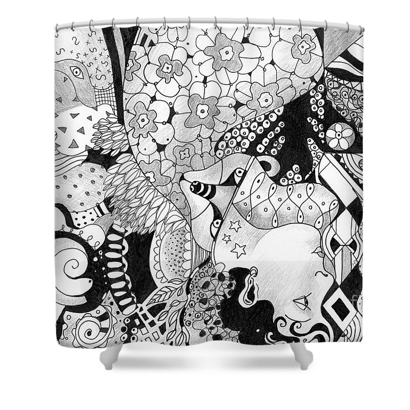 Surreal Shower Curtain featuring the drawing Moving In Circles - The Other Way Around by Helena Tiainen