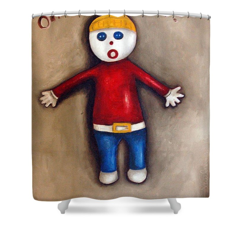 Mr.bill Shower Curtain featuring the painting Mr. Bill by Leah Saulnier The Painting Maniac