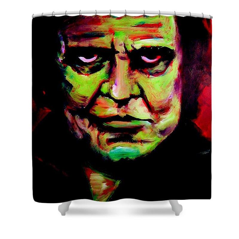 Portrait Shower Curtain featuring the painting Mr. Cash by Jason Reinhardt