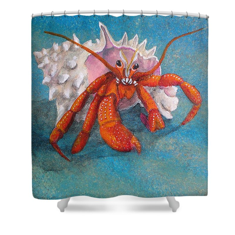 Hermit Shower Curtain featuring the painting Mr. Crab by Cindy D Chinn