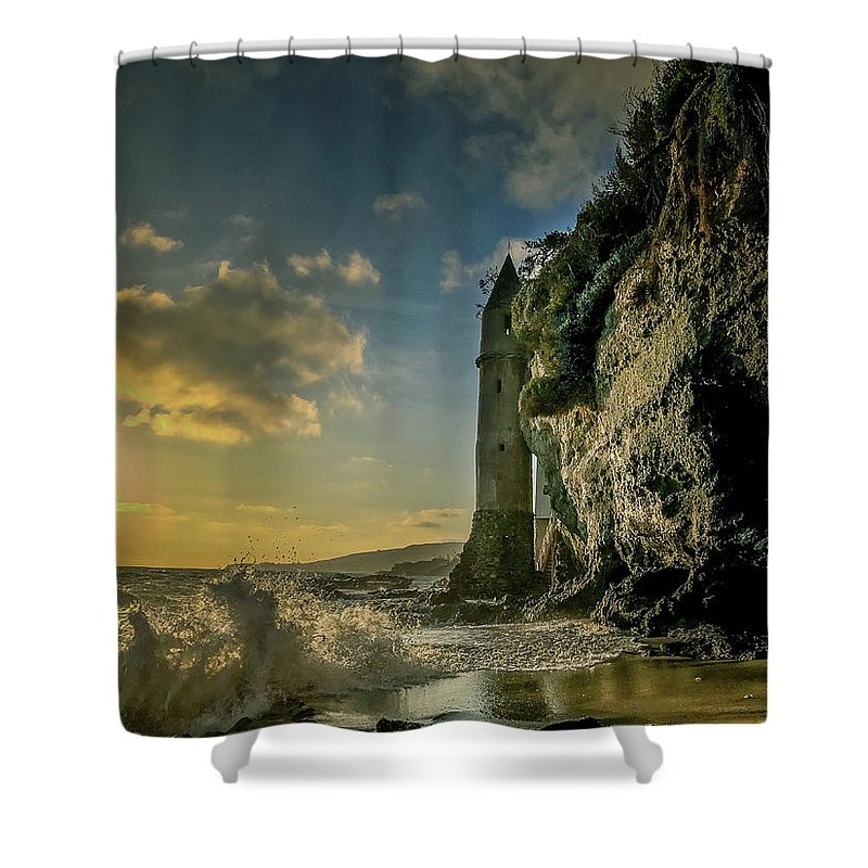 Landscape Shower Curtain featuring the photograph The Pirate's Tower by Jithin Sam