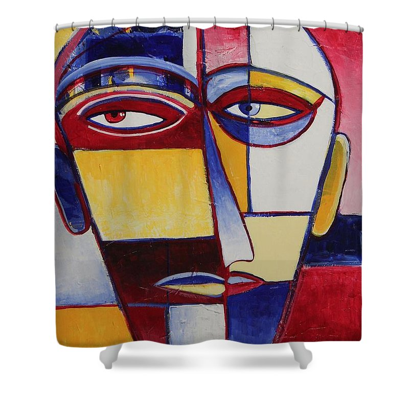 Face Shower Curtain featuring the painting Mr. Man by Rollin Kocsis