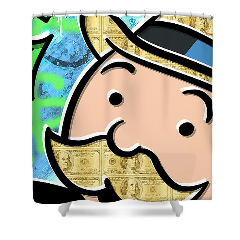 Money Shower Curtain featuring the digital art Mr Monopoly by Canvas Cultures