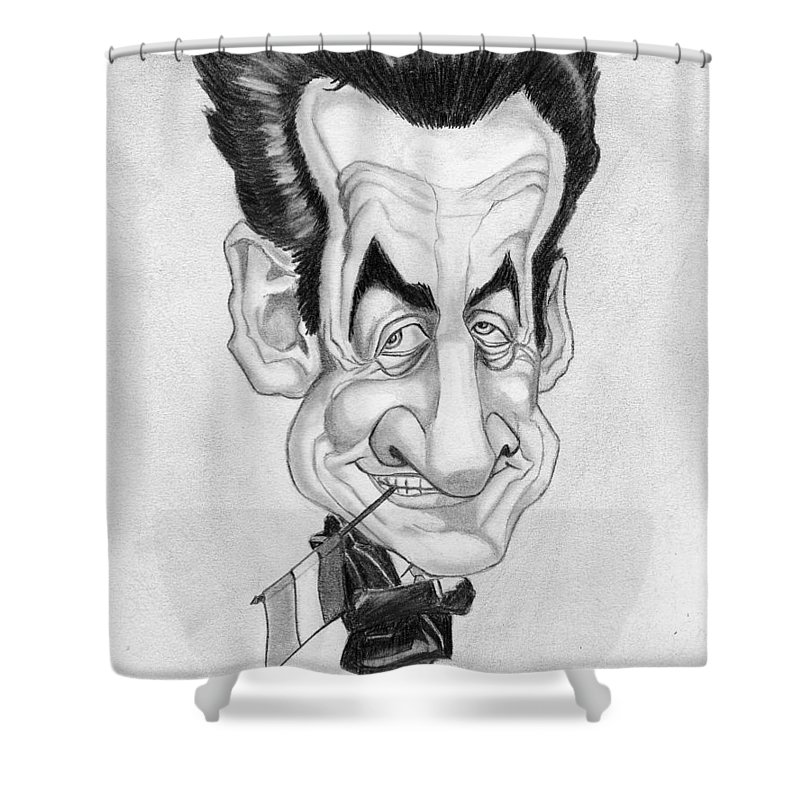 Mr Nicolas Sarkozi Shower Curtain featuring the drawing Mr Nicolas Sarkozi Caricatur Portrait by Alban Dizdari