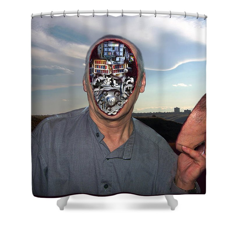 Surrealism Shower Curtain featuring the digital art Mr. Robot-otto by Otto Rapp