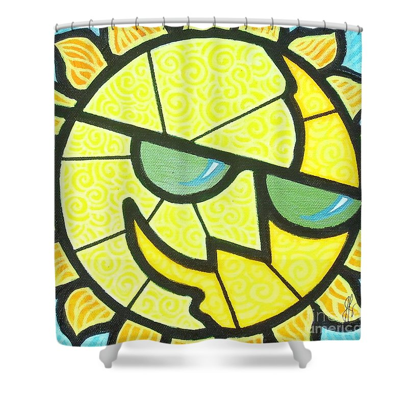 Sunshine Shower Curtain featuring the painting Mr Sunny Day by Jim Harris