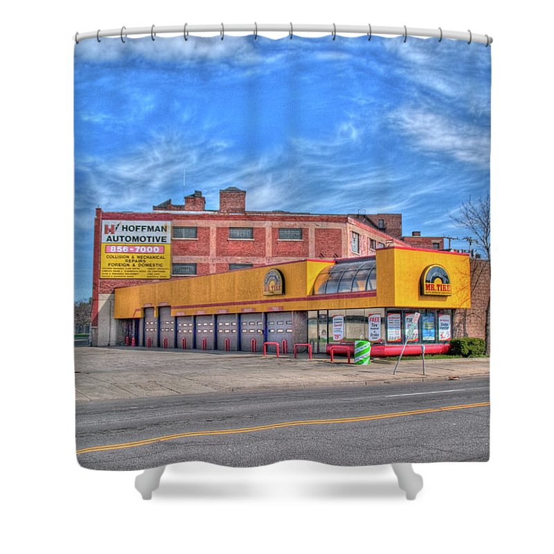 Buildings Shower Curtain featuring the photograph Mr Tire 15117 by Guy Whiteley