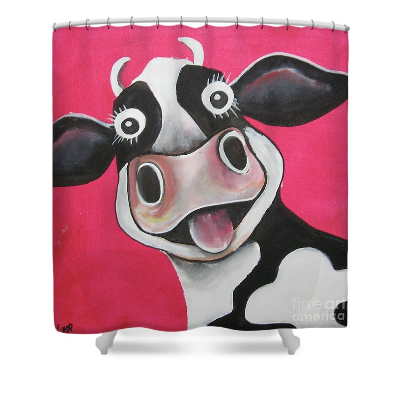 Caroline Peacock Shower Curtain Featuring The Painting Mrs Cow By