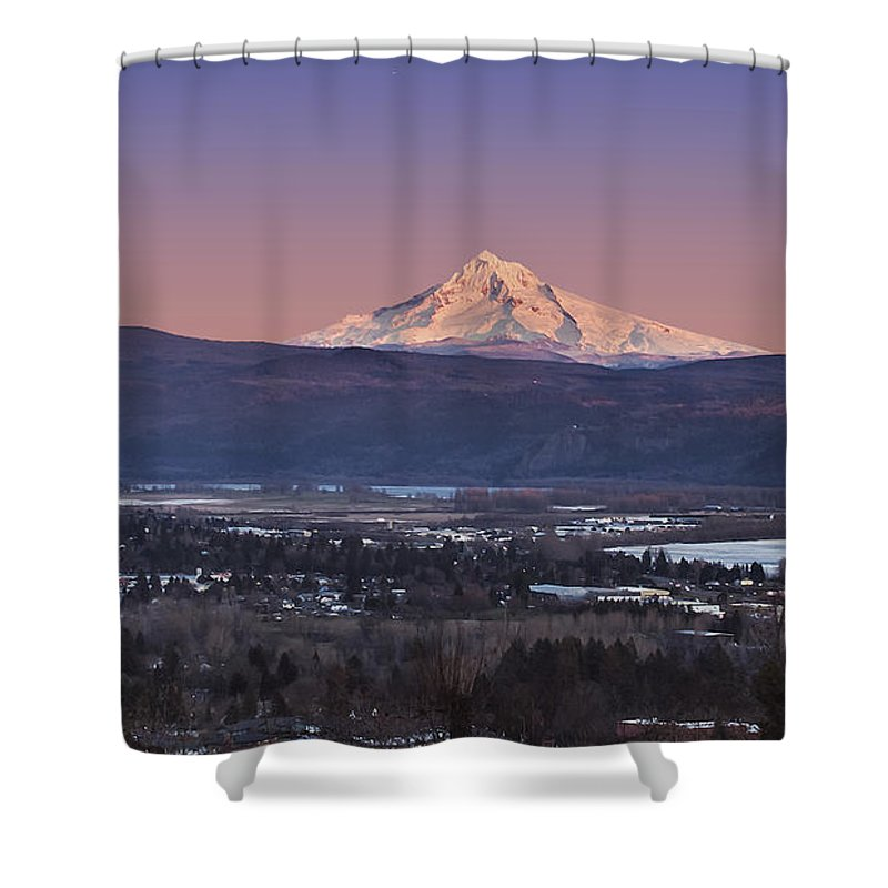 Volcano Shower Curtain featuring the photograph Mt. Hood From Camas by John Christopher