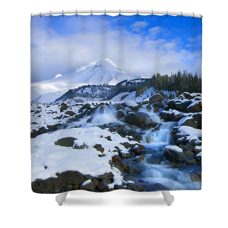 Mt. Hood Shower Curtain featuring the photograph Mt. Hood Morning by Mike Dawson