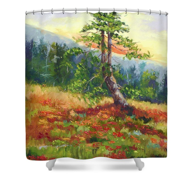 Mt.jumbo Tree Shower Curtain featuring the painting Mt. Jumbo Tree Ak by Ginger Concepcion