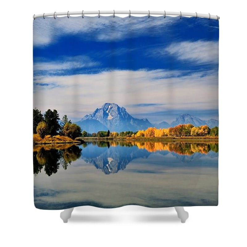 Moran Shower Curtain featuring the photograph Mt. Moran by Dongin Lee