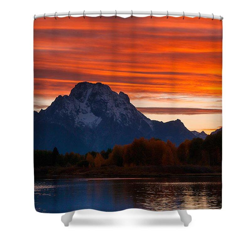 Grand Teton Shower Curtain featuring the photograph Mt. Moran Sunset by Steve Stuller