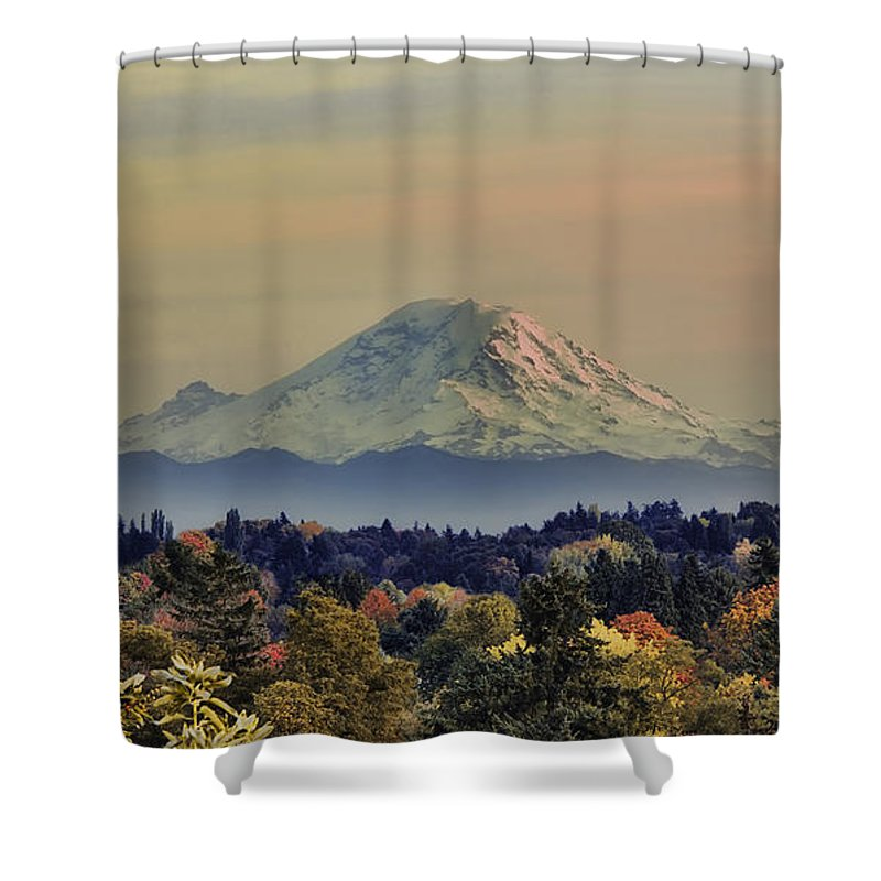 Panoramic Shower Curtain featuring the photograph Mt Rainer Fall Color Rising by James Heckt